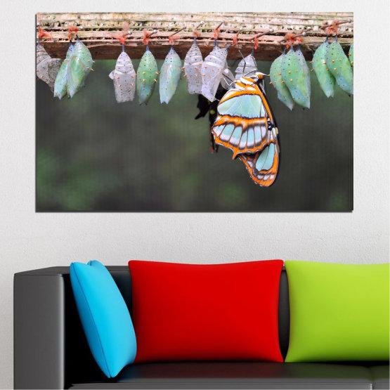 Декоративни панели и картини от канава - от 1 част №0207 » Син, Зелен, Оранжев, Сив, Бежов, Тъмно сив » Природа, Животни, Пеперуда Form #1