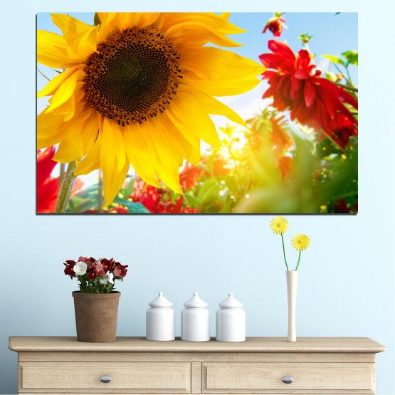 Canvas prints & wall decorative panels - 1 piece №0211 » Red, Yellow, Orange, Brown, Gray, White » Flowers, Sun, Garden, Sunflower Form #1