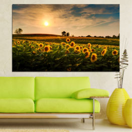 Landscape, Nature, Sunset, Sun, Sunflower, Field » Yellow, Orange, Brown, Black, Beige, Dark grey