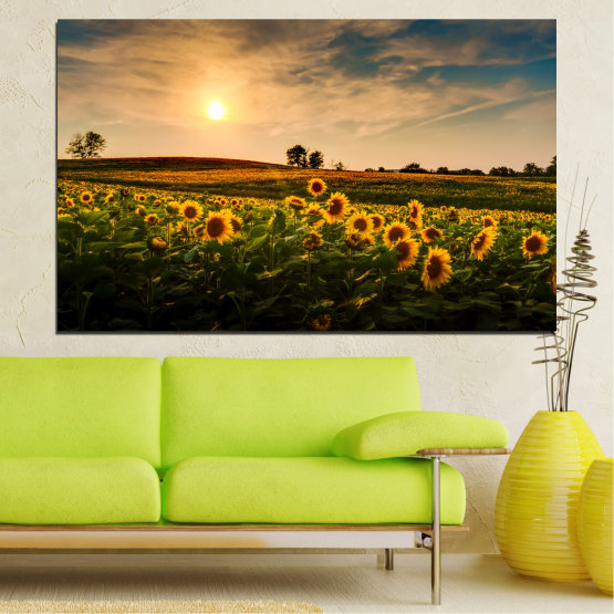 Canvas prints & wall decorative panels - 1 piece №0212 » Yellow, Orange, Brown, Black, Beige, Dark grey » Nature, Landscape, Sun, Sunset, Sunflower, Field Form #1