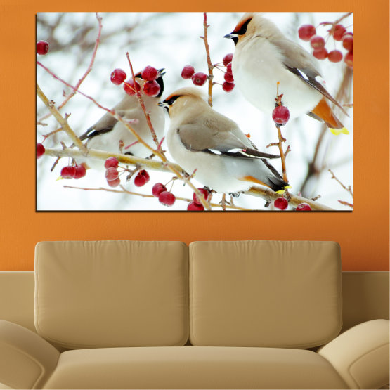 Canvas prints & wall decorative panels - 1 piece №0213 » Red, Brown, Gray, White » Birds, Snow, Winter Form #1