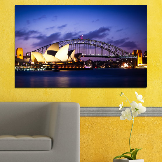 Canvas prints & wall decorative panels - 1 piece №0214 » Purple, Blue, Black, Gray, Dark grey » Water, City, Night, Bridge, Australia, Boat Form #1