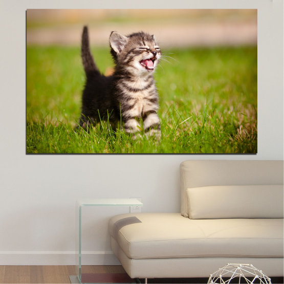 Canvas prints & wall decorative panels - 1 piece №0215 » Green, Brown, Gray, Beige » Animal, Meadow, Cat Form #1