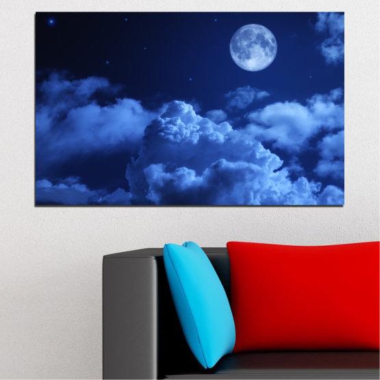 Декоративни панели и картини от канава - от 1 част №0216 » Син, Тюркоаз, Черен, Тъмно сив » Небе, Луна, Нощ, Облак Form #1