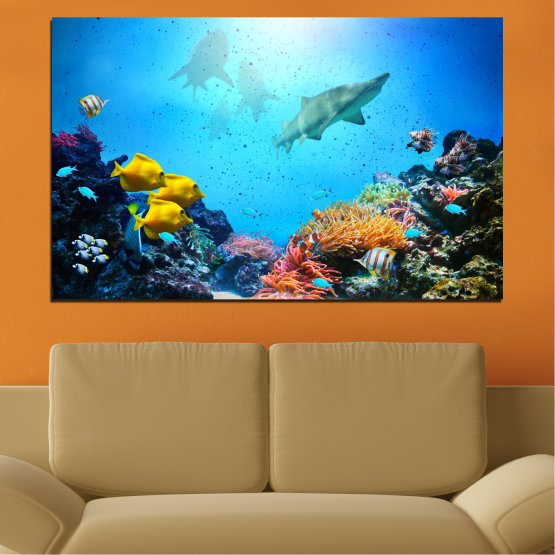 Canvas prints & wall decorative panels - 1 piece №0218 » Blue, Turquoise, Black, Dark grey » Sea, Water, Fish Form #1