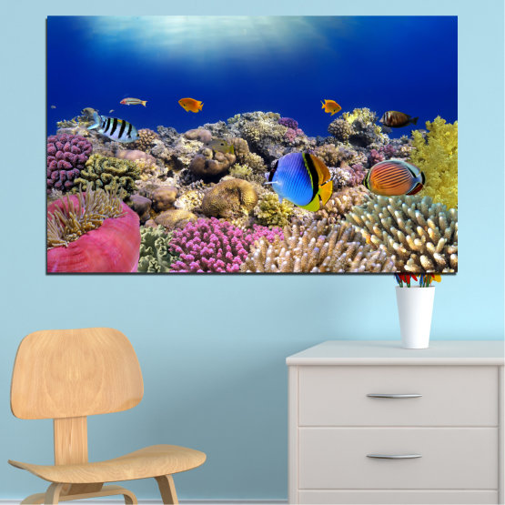 Canvas prints & wall decorative panels - 1 piece №0219 » Blue, Brown, Gray, Dark grey » Sea, Water, Fish Form #1