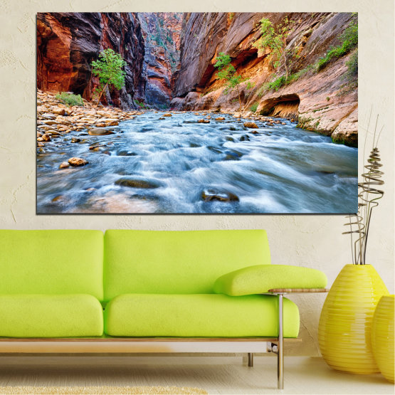 Canvas prints & wall decorative panels - 1 piece №0220 » Brown, Black, Gray, Dark grey » Nature, Water, River, Rocks Form #1