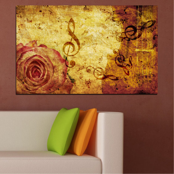 Canvas prints & wall decorative panels - 1 piece №0221 » Yellow, Orange, Brown, Beige » Collage, Rose, Music Form #1