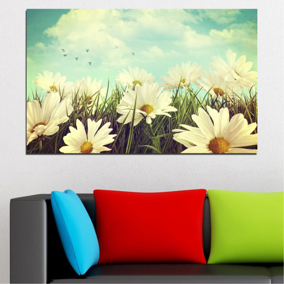 Canvas prints & wall decorative panels - 1 piece №0222 » Brown, Gray, Beige, Dark grey » Flowers, Landscape, Field Form #1