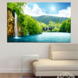 Waterfall, Mountain, Sun, Sky » Turquoise, Green, Gray, White