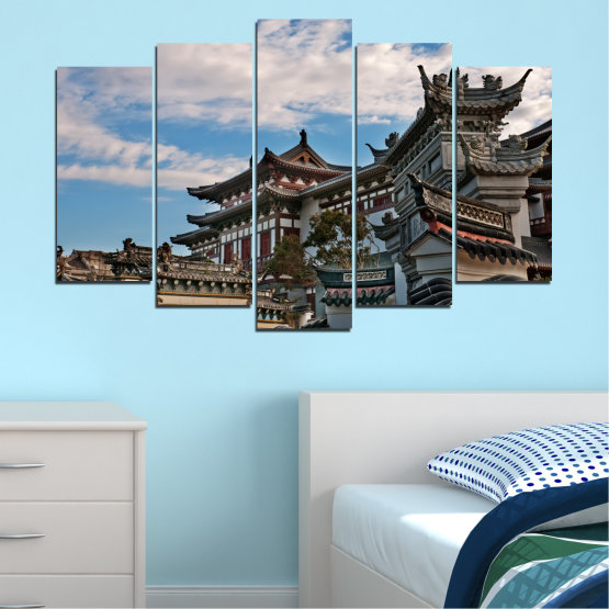 Canvas prints & wall decorative panels - 5 pieces №0009 » Turquoise, Black, Gray, Dark grey » House, Japan, Аsia Form #1