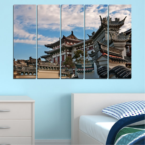 Canvas prints & wall decorative panels - 5 pieces №0009 » Turquoise, Black, Gray, Dark grey » House, Japan, Аsia Form #2