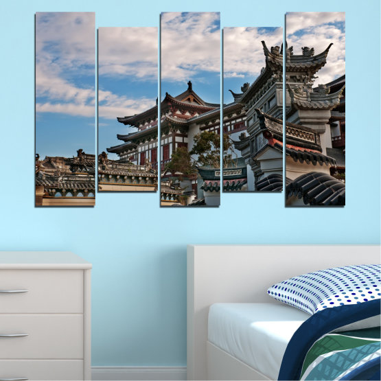 Canvas prints & wall decorative panels - 5 pieces №0009 » Turquoise, Black, Gray, Dark grey » House, Japan, Аsia Form #3