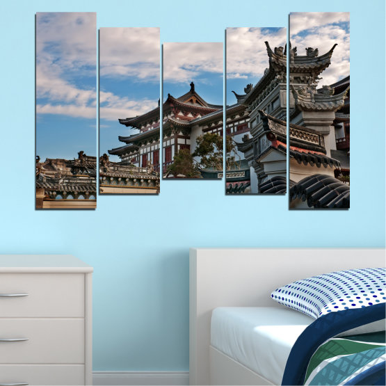 Canvas prints & wall decorative panels - 5 pieces №0009 » Turquoise, Black, Gray, Dark grey » House, Japan, Аsia Form #4