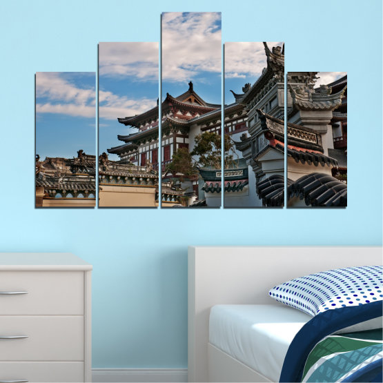 Canvas prints & wall decorative panels - 5 pieces №0009 » Turquoise, Black, Gray, Dark grey » House, Japan, Аsia Form #5