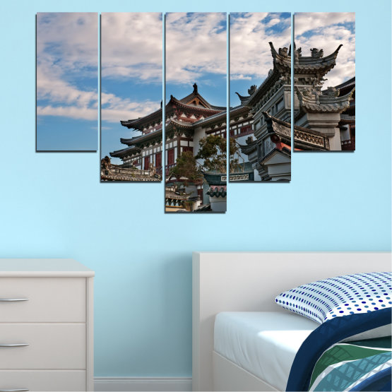 Canvas prints & wall decorative panels - 5 pieces №0009 » Turquoise, Black, Gray, Dark grey » House, Japan, Аsia Form #6