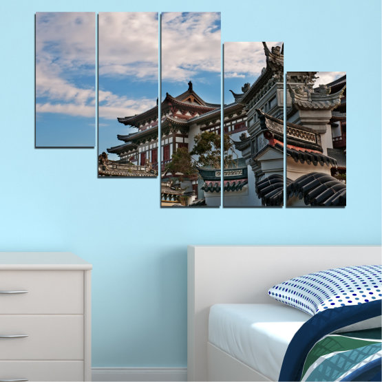 Canvas prints & wall decorative panels - 5 pieces №0009 » Turquoise, Black, Gray, Dark grey » House, Japan, Аsia Form #7