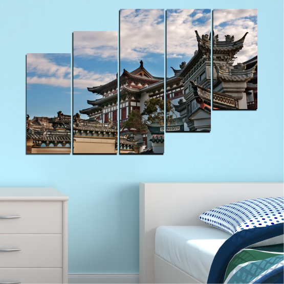Canvas prints & wall decorative panels - 5 pieces №0009 » Turquoise, Black, Gray, Dark grey » House, Japan, Аsia Form #8