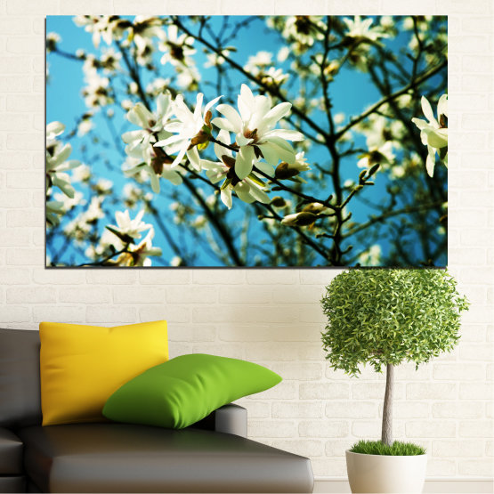 Canvas prints & wall decorative panels - 1 piece №0225 » Turquoise, Black, Gray, Beige, Dark grey » Flowers, Nature, Sun Form #1