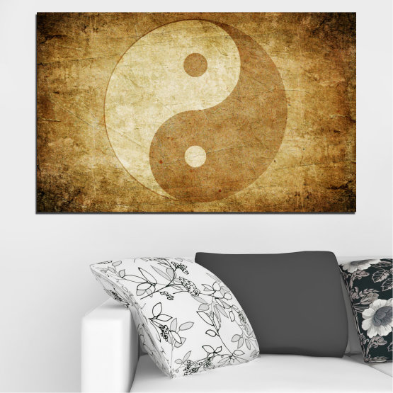 Canvas prints & wall decorative panels - 1 piece №0226 » Orange, Brown, Beige » Feng shui, Symbol, Buddha Form #1