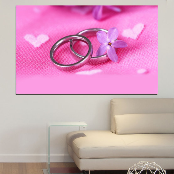 Canvas prints & wall decorative panels - 1 piece №0229 » Red, Pink, Purple, White, Milky pink » Wedding, Symbol, Ring Form #1