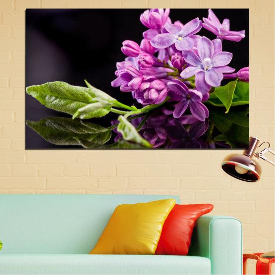 Декоративни панели и картини от канава - от 1 част №0231 » Лилав, Черен, Сив, Млечно розов, Тъмно сив » Цветя, Люляк, Отражение Form #1