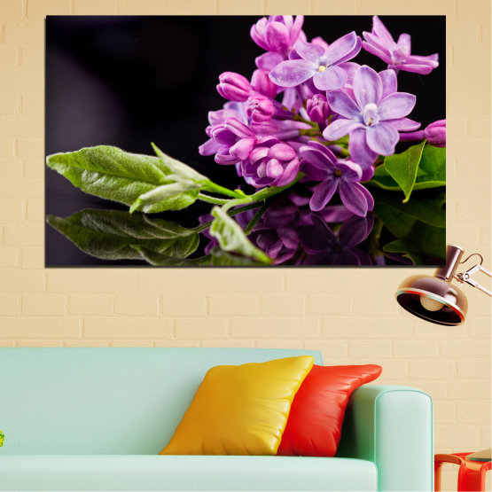 Canvas prints & wall decorative panels - 1 piece №0231 » Purple, Black, Gray, Milky pink, Dark grey » Flowers, Reflection, Lilac Form #1
