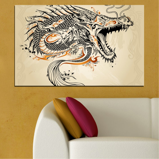 Canvas prints & wall decorative panels - 1 piece №0233 » Black, Gray, White, Beige, Dark grey » Drawing, Dragon, China Form #1