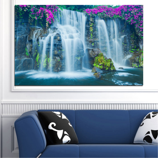 Canvas prints & wall decorative panels - 1 piece №0234 » Blue, Turquoise, Gray, Dark grey » Nature, Landscape, Waterfall, Water, Rocks Form #1