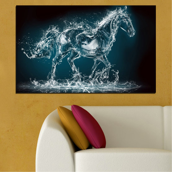 Canvas prints & wall decorative panels - 1 piece №0235 » Black, Gray, Dark grey » Abstraction, Water, Horse Form #1
