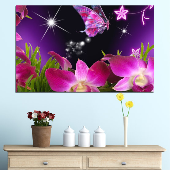 Canvas prints & wall decorative panels - 1 piece №0240 » Purple, Black, Milky pink, Dark grey » Flowers, Orchid, Butterfly Form #1