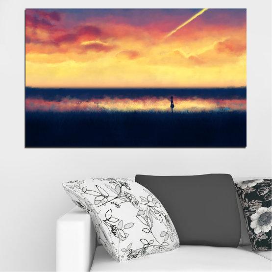 Canvas prints & wall decorative panels - 1 piece №0242 » Yellow, Orange, Black, Beige, Dark grey » Sea, Sunset, Beach Form #1
