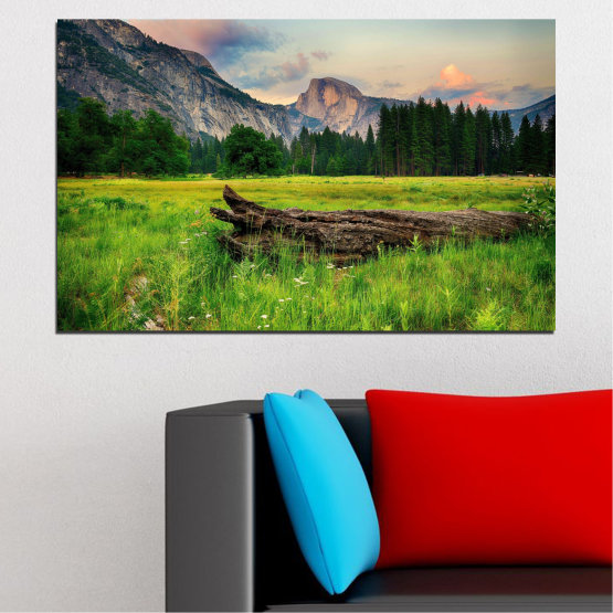 Canvas prints & wall decorative panels - 1 piece №0243 » Green, Black, Gray, Dark grey » Landscape, Nature, Forest, Mountain, Meadow Form #1