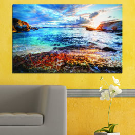 Water, Sea, Bay, Sunrise, Seaside » Turquoise, Black, Gray, Dark grey