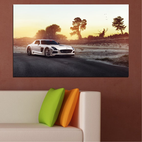 Canvas prints & wall decorative panels - 1 piece №0246 » Brown, Black, White, Beige, Dark grey » Car, Vehicle, Road Form #1