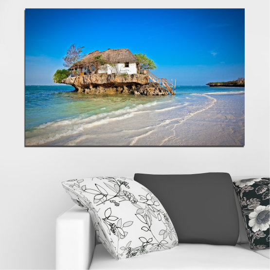 Canvas prints & wall decorative panels - 1 piece №0247 » Blue, Turquoise, Gray » Water, Beach, Island, Seaside, House Form #1