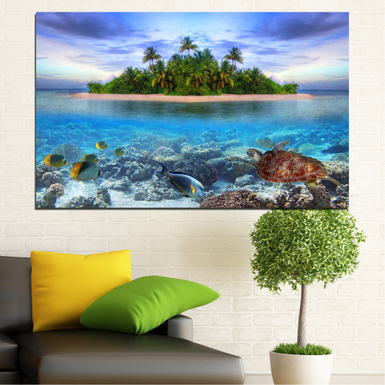 Canvas prints & wall decorative panels - 1 piece №0248 » Blue, Turquoise, Gray, Dark grey » Nature, Landscape, Water, Beach, Island, Turtle Form #1