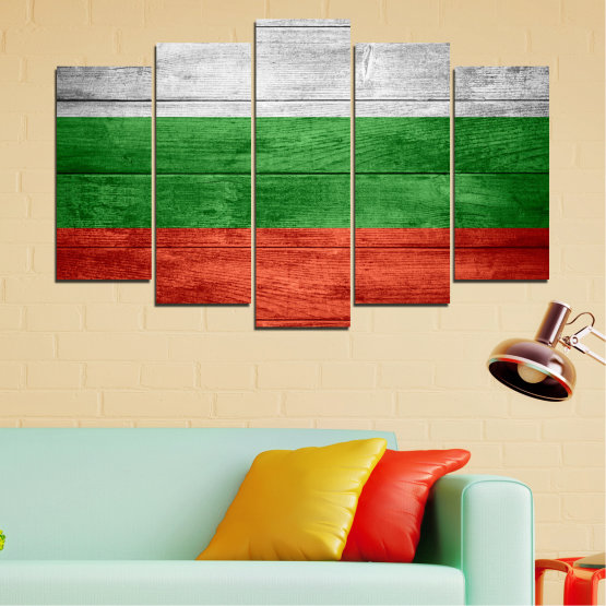 Canvas prints & wall decorative panels - 5 pieces №0092 » Red, Green, Gray » Bulgaria, Symbol, Flag Form #1