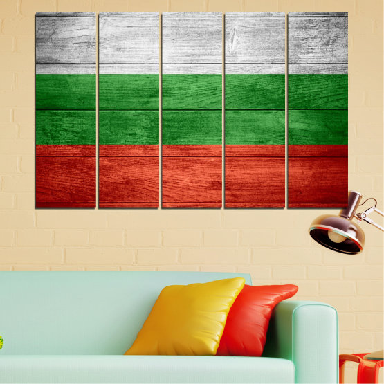 Canvas prints & wall decorative panels - 5 pieces №0092 » Red, Green, Gray » Bulgaria, Symbol, Flag Form #2