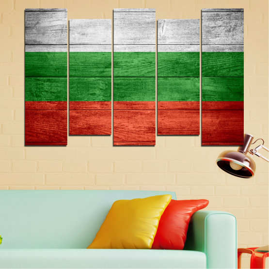 Canvas prints & wall decorative panels - 5 pieces №0092 » Red, Green, Gray » Bulgaria, Symbol, Flag Form #3