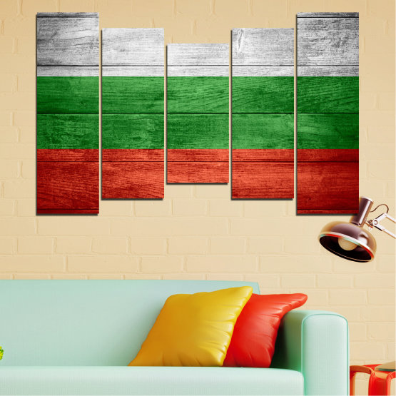 Canvas prints & wall decorative panels - 5 pieces №0092 » Red, Green, Gray » Bulgaria, Symbol, Flag Form #4