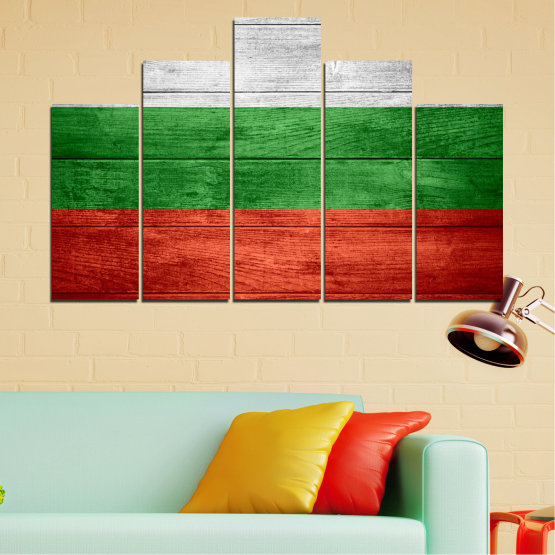 Canvas prints & wall decorative panels - 5 pieces №0092 » Red, Green, Gray » Bulgaria, Symbol, Flag Form #5