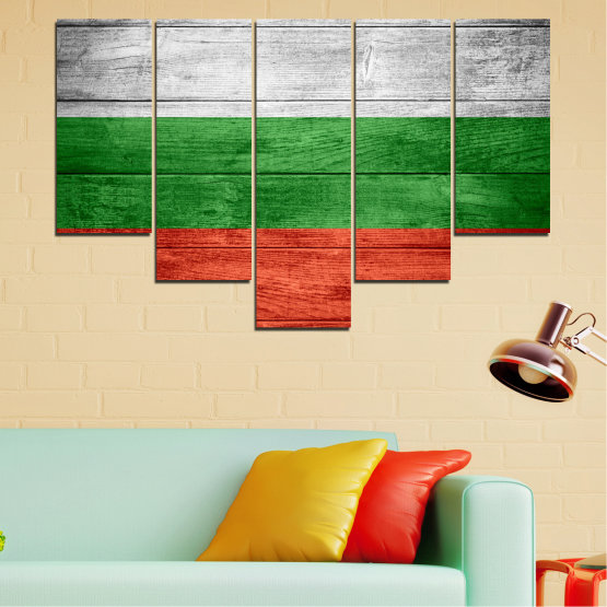 Canvas prints & wall decorative panels - 5 pieces №0092 » Red, Green, Gray » Bulgaria, Symbol, Flag Form #6