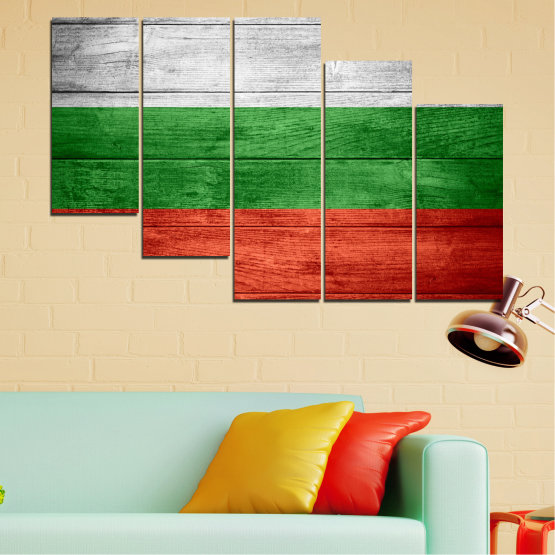 Canvas prints & wall decorative panels - 5 pieces №0092 » Red, Green, Gray » Bulgaria, Symbol, Flag Form #7