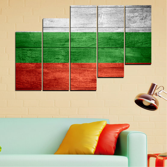 Canvas prints & wall decorative panels - 5 pieces №0092 » Red, Green, Gray » Bulgaria, Symbol, Flag Form #8