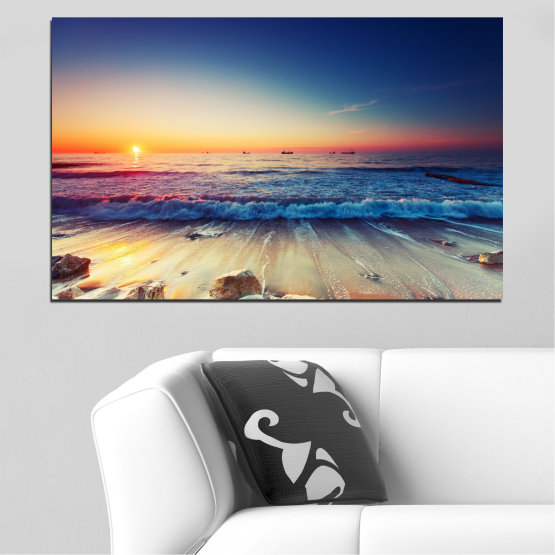 Canvas prints & wall decorative panels - 1 piece №0249 » Blue, Black, Gray, Beige, Dark grey » Sea, Landscape, Sunset, Beach, Wave, Seaside Form #1