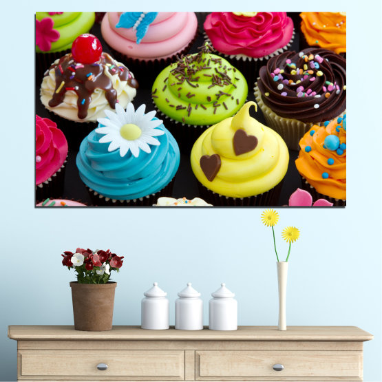Canvas prints & wall decorative panels - 1 piece №0250 » Blue, Green, Brown, Black, Beige » Culinary, Colorful, Pastry Form #1