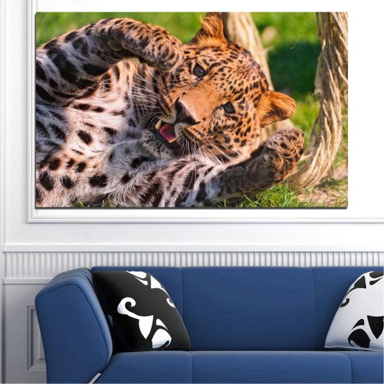 Декоративни панели и картини от канава - от 1 част №0251 » Кафяв, Черен, Сив, Бежов, Тъмно сив » Животни, Портрет, Леопард Form #1