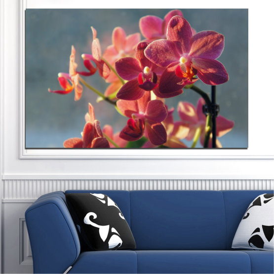 Canvas prints & wall decorative panels - 1 piece №0252 » Red, Pink, Brown, Gray, Dark grey » Flowers, Orchid, Bouquet Form #1