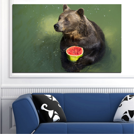 Canvas prints & wall decorative panels - 1 piece №0256 » Brown, Black, Gray, Dark grey » Animal, Water, Watermelon, Bear Form #1